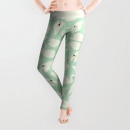 Mint Swan Seamless Pattern 028 Leggings