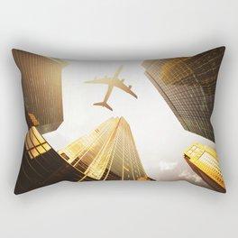 airplane in nyc Rectangular Pillow