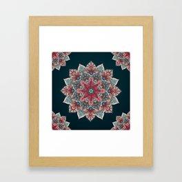 Winter holidays doodles mandala design Framed Art Print