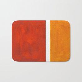 Burnt Orange Yellow Ochre Mid Century Modern Abstract Minimalist Rothko Color Field Squares Bath Mat