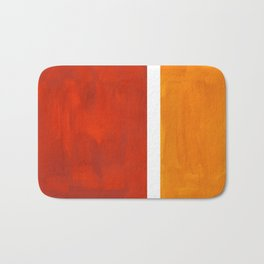 Burnt Orange Yellow Ochre Mid Century Modern Abstract Minimalist Rothko Color Field Squares Bath Mat