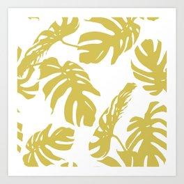 Simply Mod Yellow Palm Leaves Art Print