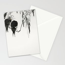Wantanabe Seitei - Perched magpies Stationery Cards