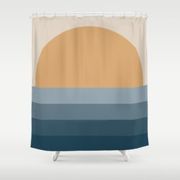 Minimal Retro Sunset / Sunrise - Ocean Blue Shower Curtain