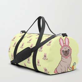 Pug dog in a rabbit costume pattern Duffle Bag