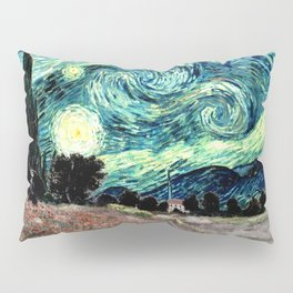 Monet's Poppies with Van Gogh's Starry Night Sky Pillow Sham
