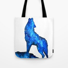 Howling Wolf | Space Wolf | Double Exposure Wolf | Wolf Painting | Blue Wolf Tote Bag