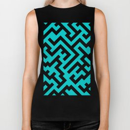 Black and Cyan Diagonal Labyrinth Biker Tank