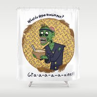zombies Shower Curtains featuring Vegan Zombies by Matt Wydick