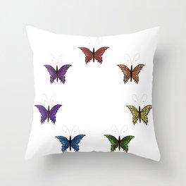 Rainbow Butterflies Throw Pillow