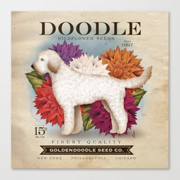Doodle Goldendoodle wildflower seed packet artwork by Stephen Fowler Canvas Print