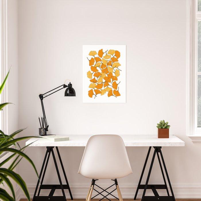 ginkgo leaves (orange) Poster