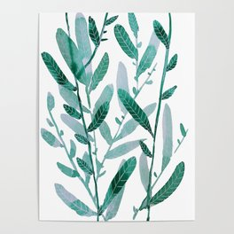 greeen water color leaves Poster