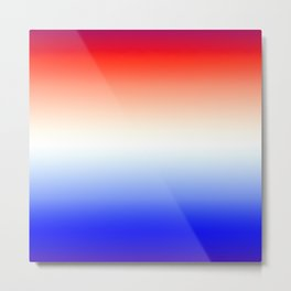 Red White and Blue Merging Gradient Pattern Metal Print