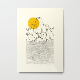 Sun and sea cliffs Metal Print