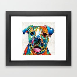 Colorful Dog Pit Bull Art - Happy - By Sharon Cummings Framed Art Print