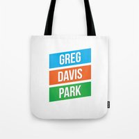 greg guillemin Tote Bags featuring Greg Davis Park by Parks of Seattle