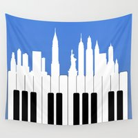 new york Wall Tapestries featuring New York, New York by mark ashkenazi