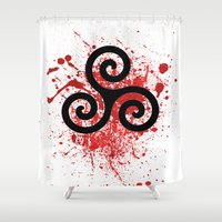teen wolf Shower Curtains featuring Triskele 2 by AlixInsanity