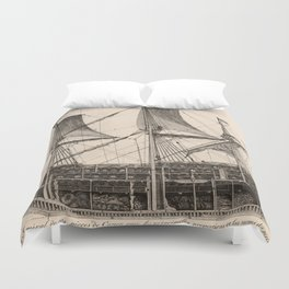 Vintage Naval Vessel Interior Diagram (1693) Duvet Cover