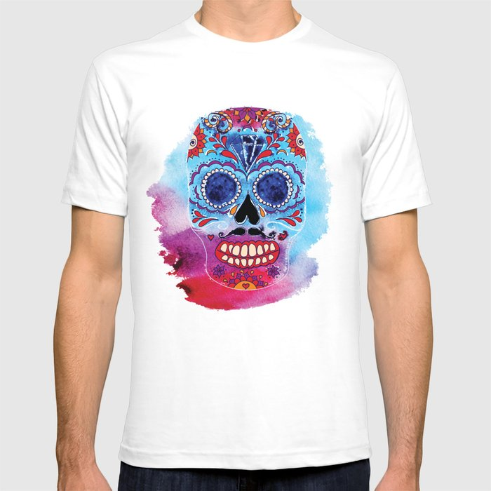 a8e83134 Watercolor Day of the dead sugar skull. Mexican skull illustration. T-shirt  by tinta6 | Society6