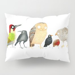 Woodland Bird Collection in white Pillow Sham