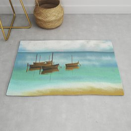 Seascape Boats Painting Impressionism Blue Ocean Artwork Rug
