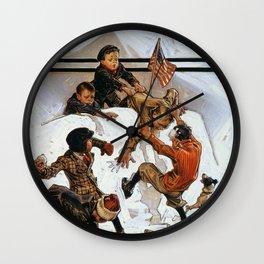 Joseph Christian Leyendecker - Snowball Fight - Digital Remastered Edition Wall Clock