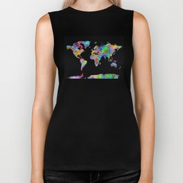 world map watercolor black 2 Biker Tank