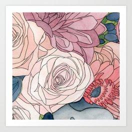 Watercolor wedding bouquet Art Print