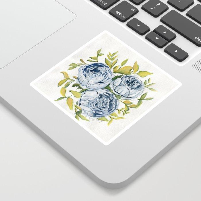 Blue Flowers Watercolor Sticker
