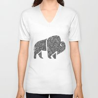 buffalo V-neck T-shirts featuring Buffalo by Aleishajune