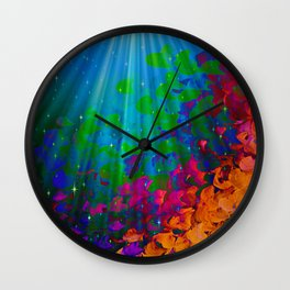 UNDER THE SEA Bold Colorful Abstract Acrylic Painting Mermaid Ocean Waves Splash Water Rainbow Ombre Wall Clock