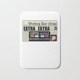 LGBT Gay Pride Flags Newspaper Unicorn Pug Funny Gift design Bath Mat