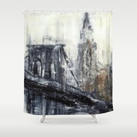 brooklyn bridge Shower Curtains featuring Brooklyn Bridge  by Kasia Pawlak