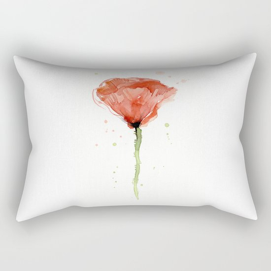 Poppy Watercolor Abstract Red Flower Rectangular Pillow