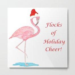 Flamingo Christmas Cheer Metal Print