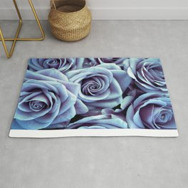 Ice Blue Periwinkle Roses / Flowers Rug