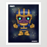 thanos Art Prints featuring Thanos Pop! by SpaceWaffle