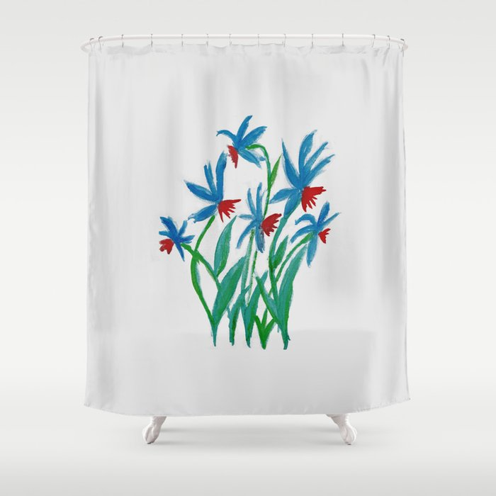Hand Painted Watercolor Floral Blue And Red Flowers Shower Curtain By Annaki
