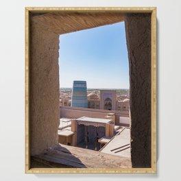 Unfinished Kalta Minor Minaret at Ichan Qala - Khiva, Uzbekistan Serving Tray