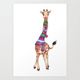 Cold Outside - cute giraffe illustration Art Print