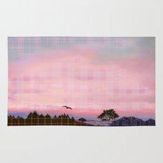 Plaid Landscape Tranquil Sunset Rug