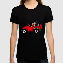 Jeep Wave Girl - Side View - Red T-shirt