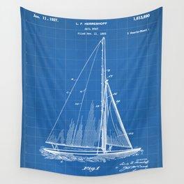 Sailboat Patent - Yacht Art - Blueprint Wall Tapestry