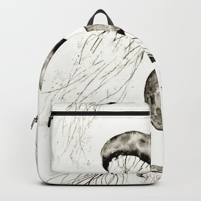 jelly fishes black and white Backpack
