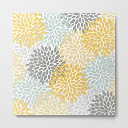 Floral Pattern, Yellow, Pale, Aqua and Gray Metal Print
