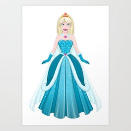 Snow Princess In Blue Dress Front Art Print