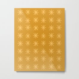 Modern Hand-drawn Minimalist Abstract Stars / Snowflakes Pattern in Golden Hues Metal Print