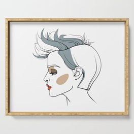 Woman with trendy haircut. Abstract face. Fashion illustration Serving Tray